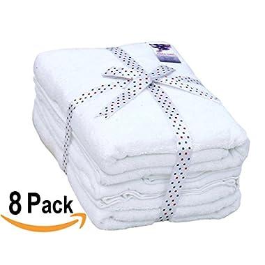 8 Piece Towel Set (White); 2 Bath Towels, 2 Hand Towels & 4 Washcloths - Cotton By Utopia Towels