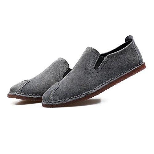 Zapatos de bajo Cuero Corte Hombres para conducción Gris de de Zapatos Casuales RqtwrxXt