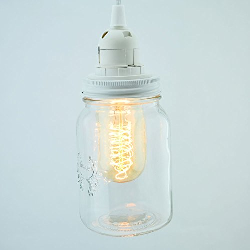 Fantado Mason Jar Pendant Light Kit, Wide Mouth, White Cord, 15FT by PaperLanternStore Mason Jar Base