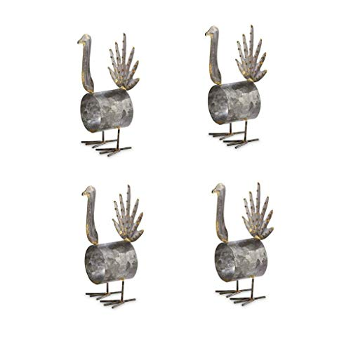 Turkey Napkin Rings - Thanksgiving Turkey Rustic Galvanized Tin Cloth