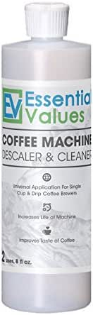 Essential Values Descaling Solution/Descaler for Keurig, Delonghi, Saeco, Gaggia, Nespresso and All Single Use, Coffee Pot and Espresso Machines by Essential Values