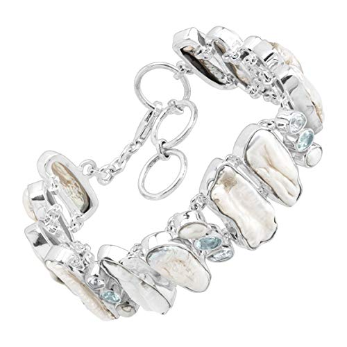 Silpada 'Plateau' Natural Rough Stone Link Bracelet in Sterling Silver