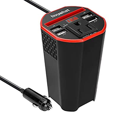 Buywhat 150W Power Inverter DC 12v to 110v AC Converter Car Plug Adapter Outlet Cup Holder Charger for Laptop Computer