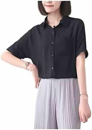 aaacc05d ARJOSA Women's Short Sleeve Pocket Button-Down T Shirts Blouses Silky Tops