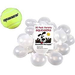 Downtown Pet Supply 30 Replacement Squeakers, Variety Pack (10 Medium, 10 Bellowed, and 10 Large Squeakers) + FREE Tennis Ball that SQUEAKS, THE SQUEAKINATOR