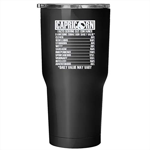 Capricorn Facts Tumbler 30 oz Stainless Steel, Gift For Capricorn Travel Mug (Tumbler - Black)