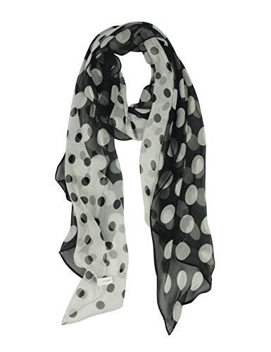 White Silk Long Scarf - Long Chiffon Polka Dot Scarfs for Women - Pantonight Black and White Scarf (Black/white 720)
