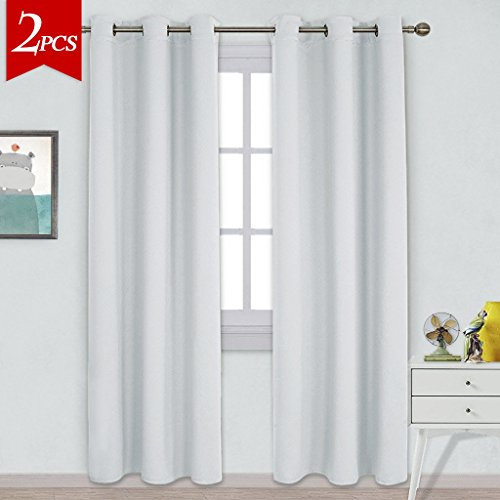 NICETOWN Easy Care Solid Thermal Insulated Grommet Room Darkening Curtains / Drapes for Bedroom (2 Panels,42 by 84,Platinum-Greyish White) (Grommet Room Darkening Curtain Panels)