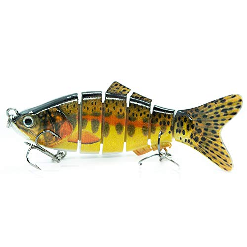 Jean&alvin Lifelike Fishing Lures-4 inch Multi Jointed Fishing Tackle Kit Slow Sinking Crankbaits Swimbaits for Bass, Perch, Trout