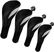 Lybile Golf Club Head Covers for Fairway Woods Driver Hybrids, 4Pcs Long Neck Mesh Golf Club Headcovers Set wi