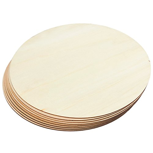 Unfinished Wood Circle - 8-Pack Round Natural Rustic Wooden Cutout for Home Decoration, DIY Craft Supplies, 11.75-inch Diameter, 0.1 inch Thick (Circle Wood Craft)