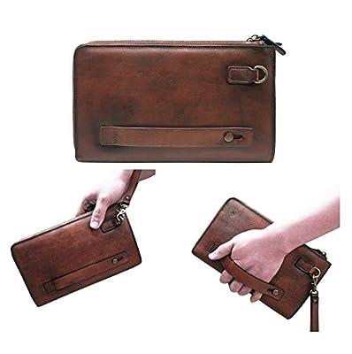 Mens Wristlets Clutch Bag Genuine Leather Wallets Handbag Luxury Purses