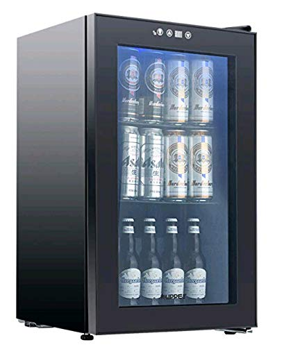 - 80-Can Beverage Cooler and Refrigerator, Small Mini Fridge for Home, Office or Bar with Glass Door and Adjustable Removable Shelves, Perfect for Soda Beer or Wine, Black, 2.3 Cu.Ft.