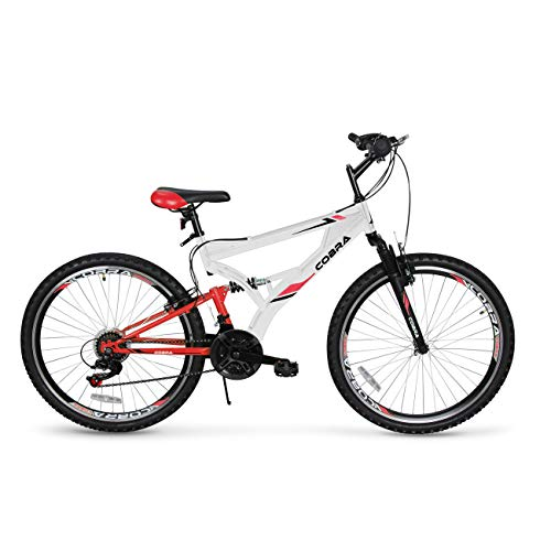 AKONZA Cobra Dual Full Suspension Outdoor Mountain Bicycle Compatible with 21-Speed Shifter Road Bike (26-Inch), White