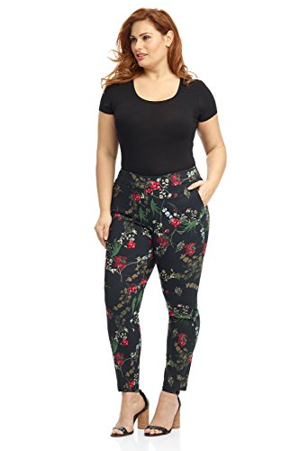- Rekucci Curvy Woman Ease in to Comfort Skinny Plus Size Pant w/Tummy Control (18W,Black/Multi Flowers)
