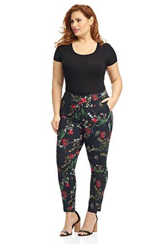 Plus Size Dresses Designer - Rekucci Curvy Woman Ease in to Comfort Skinny Plus Size Pant w/Tummy Control (18W,Black/Multi Flowers)