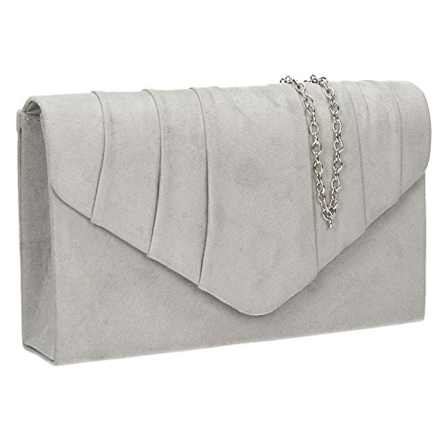 SwankySwans - Iggy Suede Velvet Envelope Party Prom Clutch Bag, Sacchetto Donna Grey