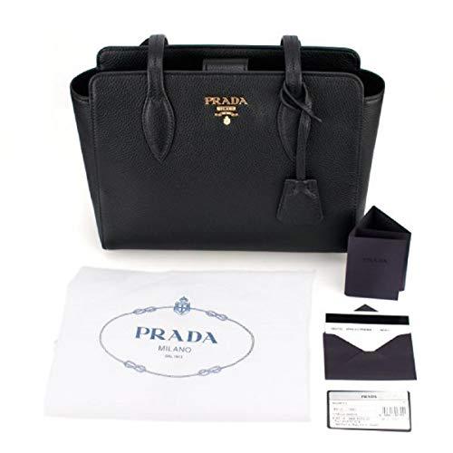(Prada Vitello Phenix Black Leather Shopping Tote Handbag 1BG111)