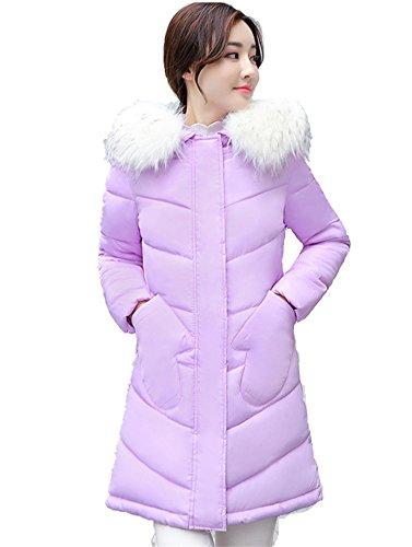 Chiguo Mujer Largas Chaqueta Abrigo con Capucha Artificiales Pelaje Collar Invierno Cálido Chaquetas para Mujer S-XXL Púrpura