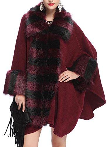 JYR femmes Ladies Plaid élégant manteau en fausse fourrure Cape Tricots manches Batwing chaud Shawl Wrap Ponchos Capes - Ivoire