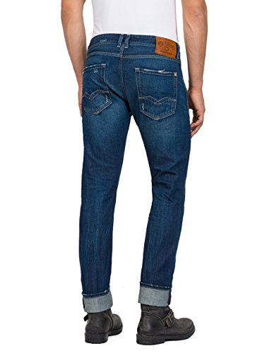 Azul REPLAY para Hombre Relaxed Denim Vaqueros Blue 9 Mid Rob wrq4pqX
