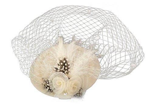 Fascinator Womens Pillbox Hat British Bowler Hat Flower Veil Wedding Hat Tea Party Hat (Beige)