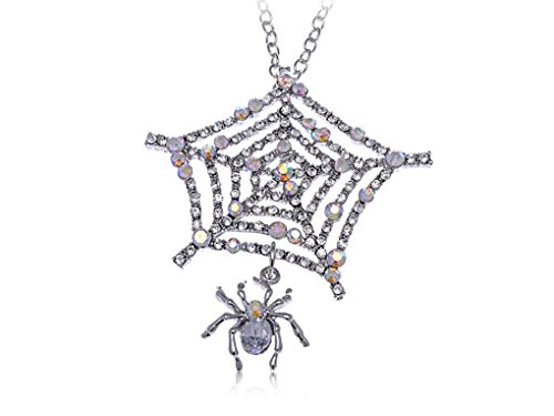 Us-DeSiGn : Charlotte's Spider Web Iced Out Crystal Clear Rhinestone Custom Pendant Necklace (Spiderweb Rhinestone Necklace)