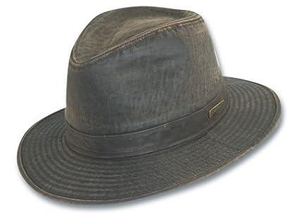 Sombrero Fedora Indiana Jones impermeable de algodón - Marrón Oscuro: Amazon.es: Ropa y accesorios