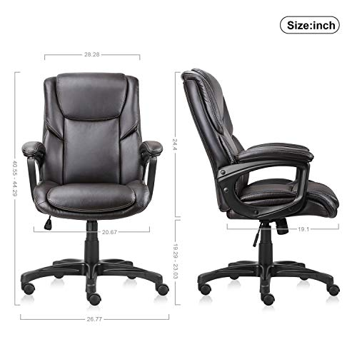 Executive Office Chair with Brown Leather, Swivel Desk Chair for Home and Office, Ergonomic Computer Chair with Adjustable seat by Becozier (Image #6)
