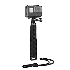 "Luxebell Selfie Stick Aluminium Waterproof Telescopic Pole Monopod for Gopro Hero 5 4, Session, Black, Silver, 3+, 3, 2, 7""-19"" (Black Aluminium)"