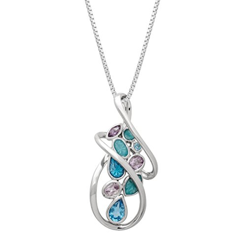 (3/4 ct Natural Blue Topaz & Amethyst Swirl Pendant Necklace with Enamel in Sterling Silver)