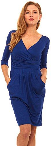 Leopard Wrap Dress (Women 3/4 Sleeve Wrap V-Neck Jersey Pencil Dress With Pockets (Large, Royal)