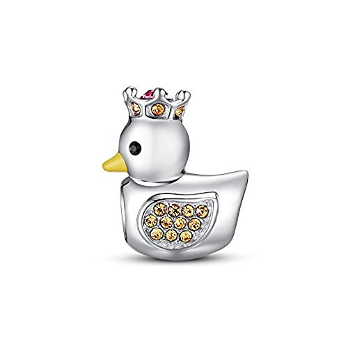 (Glamulet 925 Sterling Silver Crystal Pleasing Crown Duck Bead Charm Fits Bracelet, Ideal for Women)