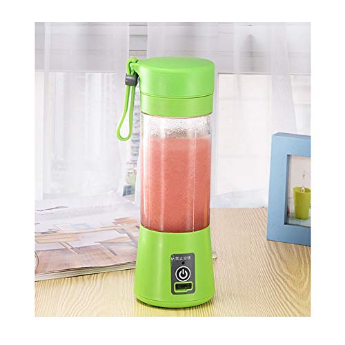 ERLIANG 2 Leaf Cutter Head Electric Mini Cyclone juicer Household Portable Fruit Juice Cup,Green