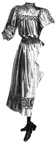 1894 Écru Linen Frock for Girl 11-13 Yrs Pattern