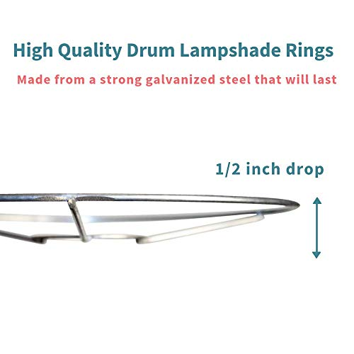 Lamp Shade Ring Set to Make a DIY Drum Ring Lamp Shade - European Style Fitter - Strong Galvanized Steel Ring For Lamp Shade - 10 Inch Diameter by I like that lamp (Image #3)