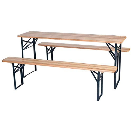 """able Folding Picnic Beer Table with Seating Set Wooden Top Picnic Table for Patio Outdoor Activities Garden Use, 30"""" Table Height ()"""