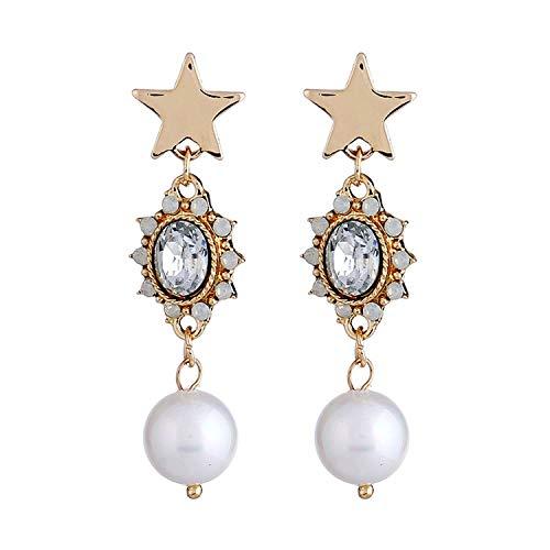 arrings Personality Five-Pointed Star Pendant Earrings Long Delicate Pearl Earrings,KCgoldwhite ()