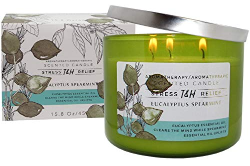 T&H Eucalyptus Spearmint Aromatherapy Candles Stress Relief Pure Soy Wax 3-Wick Candle 80 Hour Burn 15.8 Ounce Long Lasting
