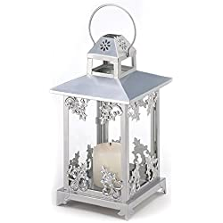 Gifts & Decor Silver Scrollwork Iron Home Candle Holder Lantern