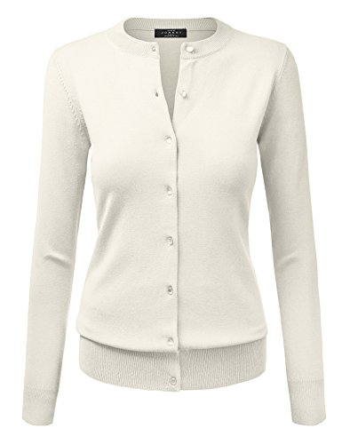 WSK781 Womens Keep It Classic Round Cardigan M IVORY (Whites Cotton Cardigan)