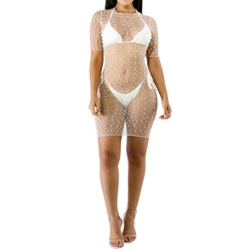 IyMoo Womens Sexy See Through Bubble Beads Bodycon Beach Clubwear Party Bodysuit Dress White L -