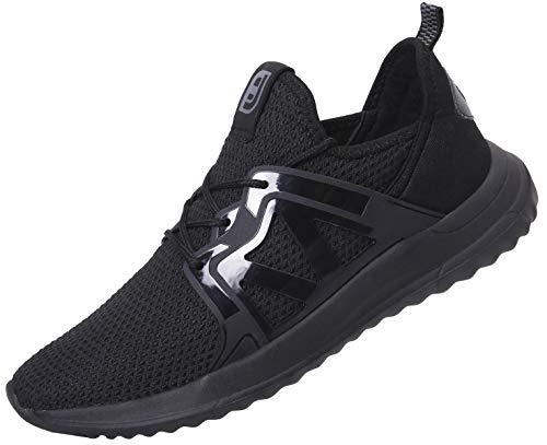 Spesoul Mens Ultra Lightweight Breathable Mesh Street Sport Walking Shoes Casual Stripe Sneakers Black 7.5 D(M) US ()