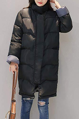Capuche Longues Jacket Veste Femme Automne Fermeture lgant Fille Synthtique Ceinture Unicolore Doublure Fourrure Parka avec A Manches Hiver Noir Manteau clair Hiver Outerwear IOqYwC5xZ