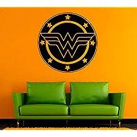 Wall Decor Wonder Woman Logo Design Justice League Film Decal Girl's Room Fans Wall Sticker Comics Poster Superhero Vinyl Mural Animated Print