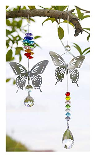 H&D HYALINE & DORA 2pcs Handmade Butterfly Crystal Prism Rainbow Maker with Multi-Color Beads Hanging Suncatcher Ornament -