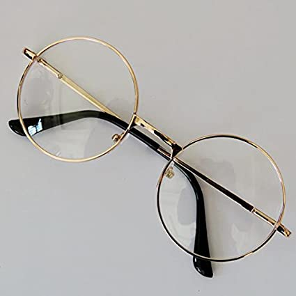 f2924817c8e Image Unavailable. Image not available for. Color  Forfar Fashion Unisex Retro  Round Circle Metal Frame Eyeglasses Original Clear Lens Eye Glasses 2 Styles