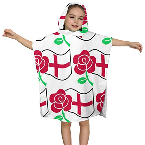Cvcxvcxvcxvc Rose and St George's Flag Children Premium Hooded Beach Bath Towel Poncho Ultra Soft Super Absorbent 23.6 X 47.2†for Boys/Girl (Necessity Rose The Big George)