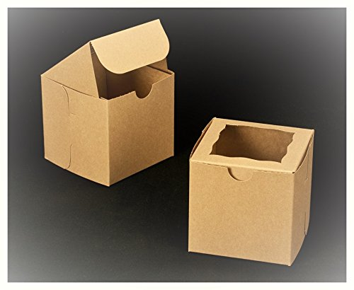 25-4x4x4 Bakery Boxes/gift Box Natural Brown with Window- Enhance the Elegance of Your Items in a Professional Crafted Box-great for Your Cupcakes, Cookies, Party Favors, Candy, Pies & Free Shipping - Cake Pops Bakery Stickers