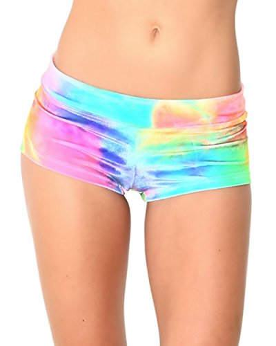 iHeartRaves Rainbow Tie Dye Velvet Booty Shorts Bottoms (Medium)